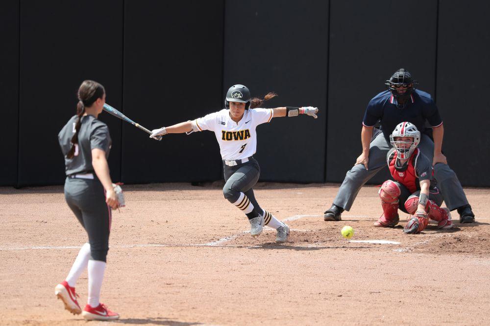 Iowa Hawkeyes Lea Thompson (7) against the Ohio State Buckeyes on senior day Sunday, May 5, 2019 at Pearl Field. (Brian Ray/hawkeyesports.com)