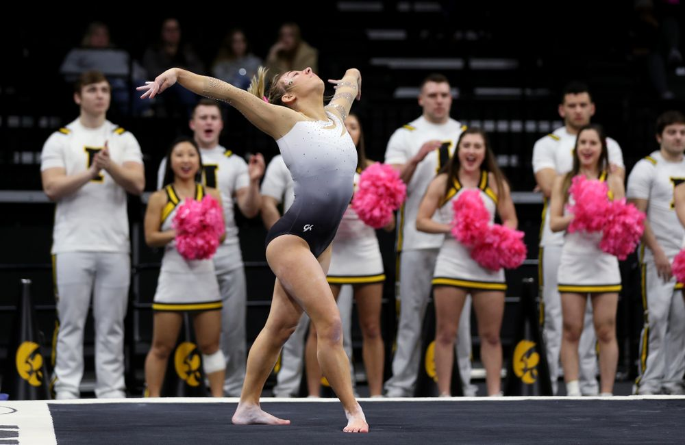 IowaÕs Alex Greenwald competes on the floor against Ball State and Air Force Saturday, January 11, 2020 at Carver-Hawkeye Arena. (Brian Ray/hawkeyesports.com)