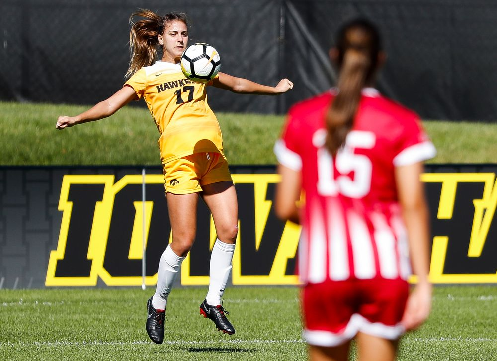 Iowa Hawkeyes defender Hannah Drkulec (17) corrals a pass during a game against Indiana at the Iowa Soccer Complex on September 23, 2018. (Tork Mason/hawkeyesports.com)