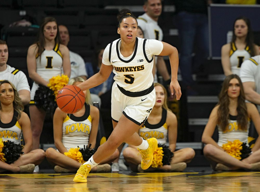 Iowa Hawkeyes guard Alexis Sevillian (5) brings the ball down the court during the third quarter of the game at Carver-Hawkeye Arena in Iowa City on Thursday, February 6, 2020. (Stephen Mally/hawkeyesports.com)