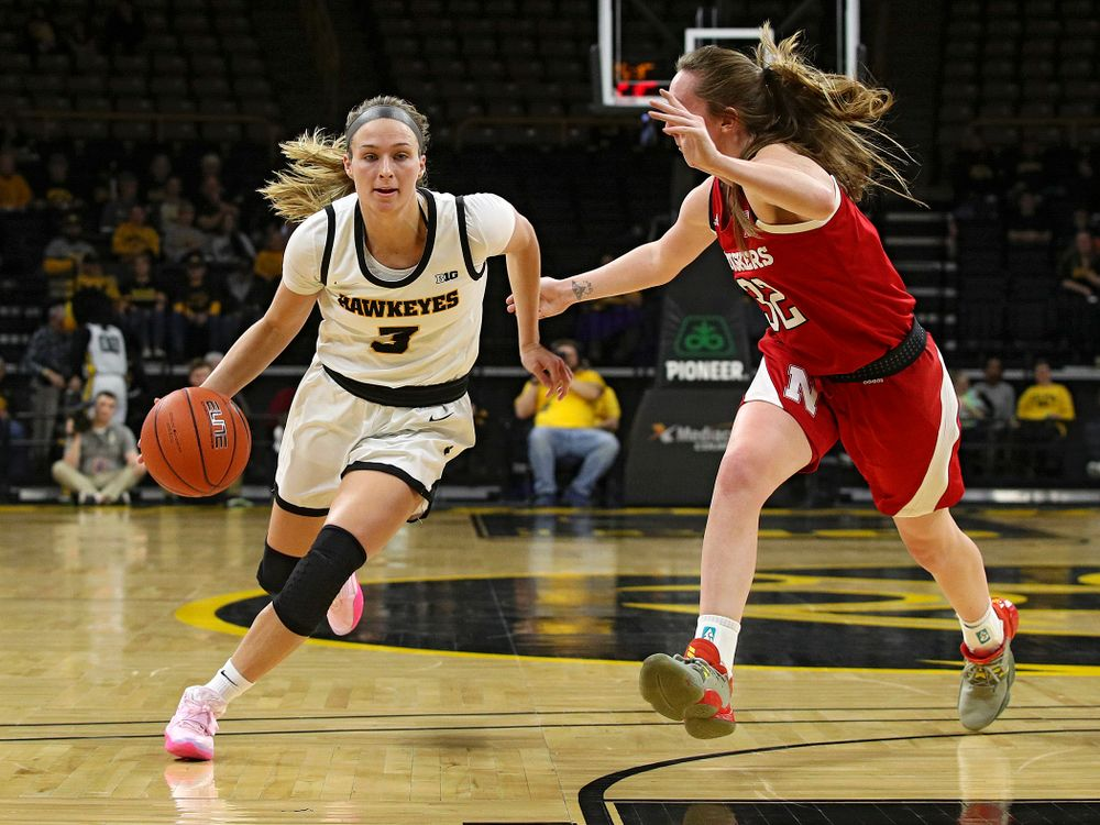 Iowa Hawkeyes guard Makenzie Meyer (3) drives with the ball during the second quarter of the game at Carver-Hawkeye Arena in Iowa City on Thursday, February 6, 2020. (Stephen Mally/hawkeyesports.com)