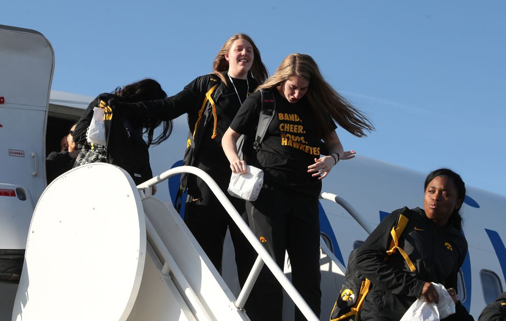 Iowa Hawkeyes center Monika Czinano (25) arrives in Greensboro, NC for the Regionals of the 2019 NCAA Women's Basketball Championships Thursday, March 28, 2019 at the Eastern Iowa Airport. (Brian Ray/hawkeyesports.com)