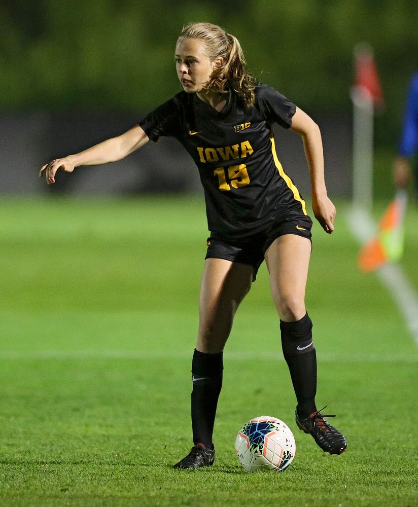 Iowa forward Jenny Cape (19) moves with the ball during the second half of their match against Western Michigan at the Iowa Soccer Complex in Iowa City on Thursday, Aug 22, 2019. (Stephen Mally/hawkeyesports.com)