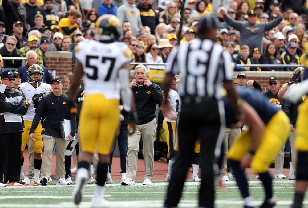 Iowa Hawkeyes head coach Kirk Ferentz against the Michigan Wolverines Saturday, October 5, 2019 at Michigan Stadium in Ann Arbor, MI. (Brian Ray/hawkeyesports.com)