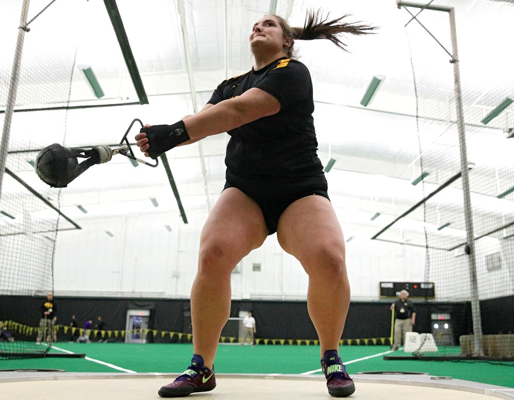 Iowa's Jamie Kofron throws during the women's weight throw event at the Hawkeye Tennis and Recreation Complex in Iowa City on Friday, January 31, 2020. (Stephen Mally/hawkeyesports.com)