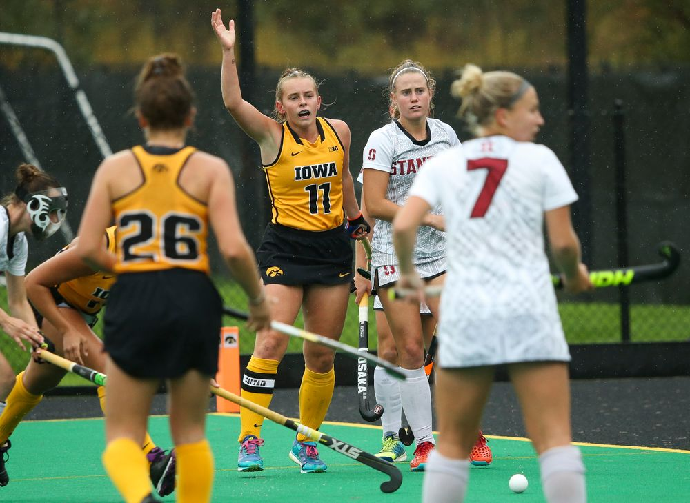 Iowa Hawkeyes midfielder Katie Birch (11) calls for a penalty during a game against Stanford at Grant Field on October 7, 2018. (Tork Mason/hawkeyesports.com)