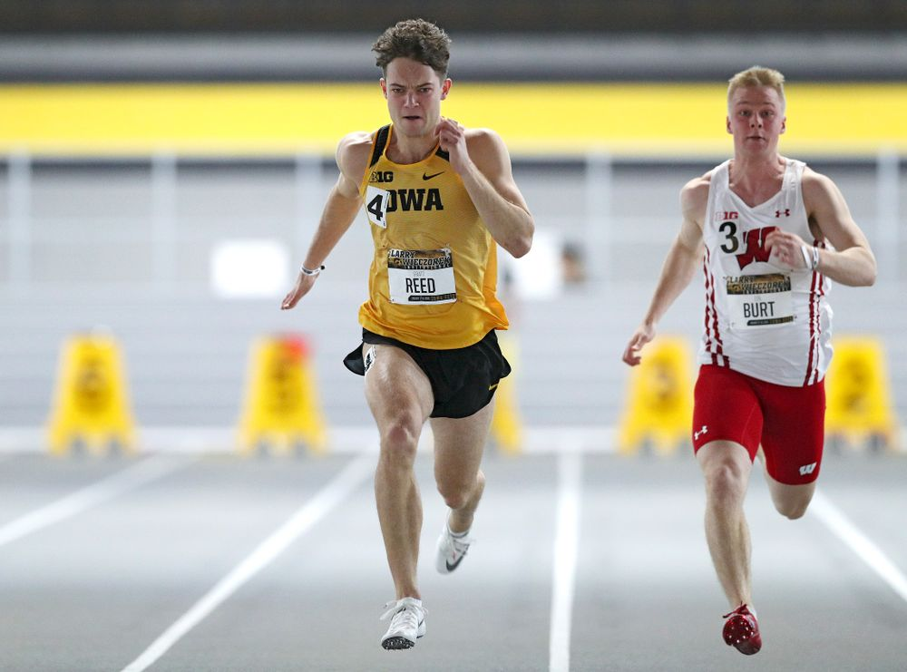 Iowa's Gratt Reed runs the men's 60 meter dash premier preliminary event during the Larry Wieczorek Invitational at the Recreation Building in Iowa City on Saturday, January 18, 2020. (Stephen Mally/hawkeyesports.com)