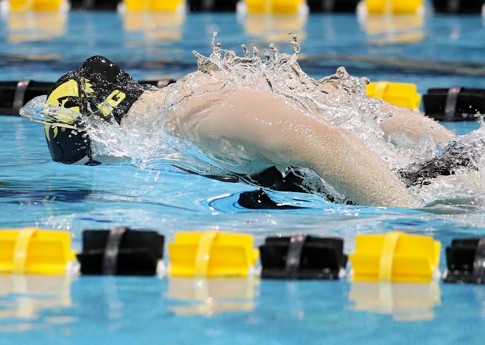 Iowa's Lauren McDougall swims the butterfly section of the 100-yard individual medley event during their meet against Michigan State at the Campus Recreation and Wellness Center in Iowa City on Thursday, Oct 3, 2019. (Stephen Mally/hawkeyesports.com)