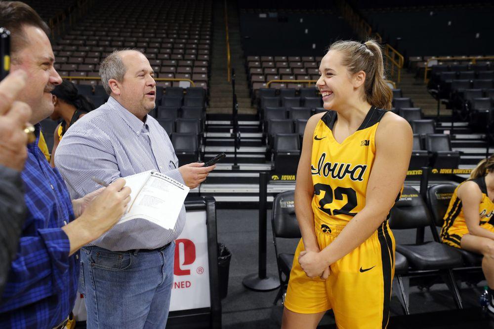 Iowa Hawkeyes guard Kathleen Doyle (22) during the teamÕs annual media day Thursday, October 24, 2019 at Carver-Hawkeye Arena. (Brian Ray/hawkeyesports.com)