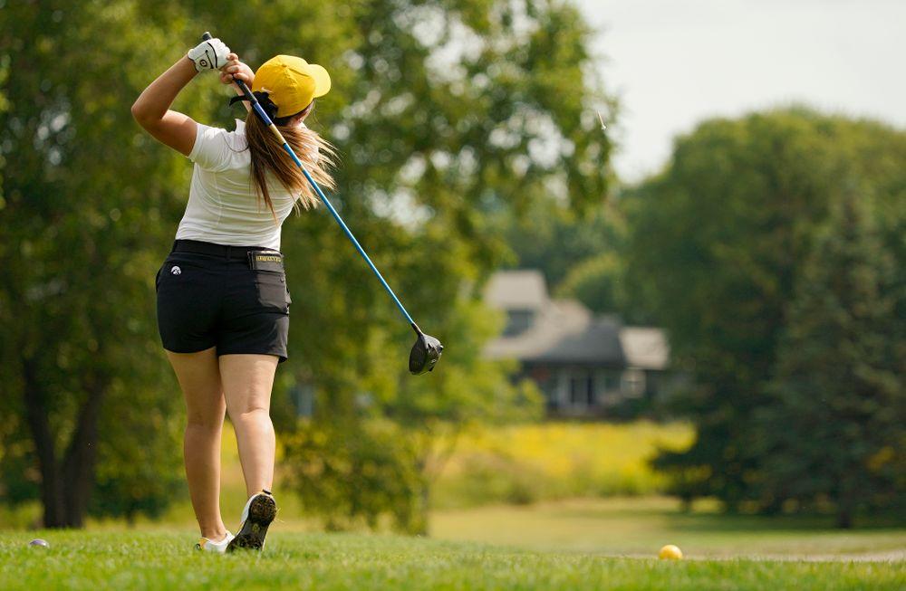 Iowa's Manuela Lizarazu tees off during their dual against Northern Iowa at Pheasant Ridge Golf Course in Cedar Falls on Monday, Sep 2, 2019. (Stephen Mally/hawkeyesports.com)