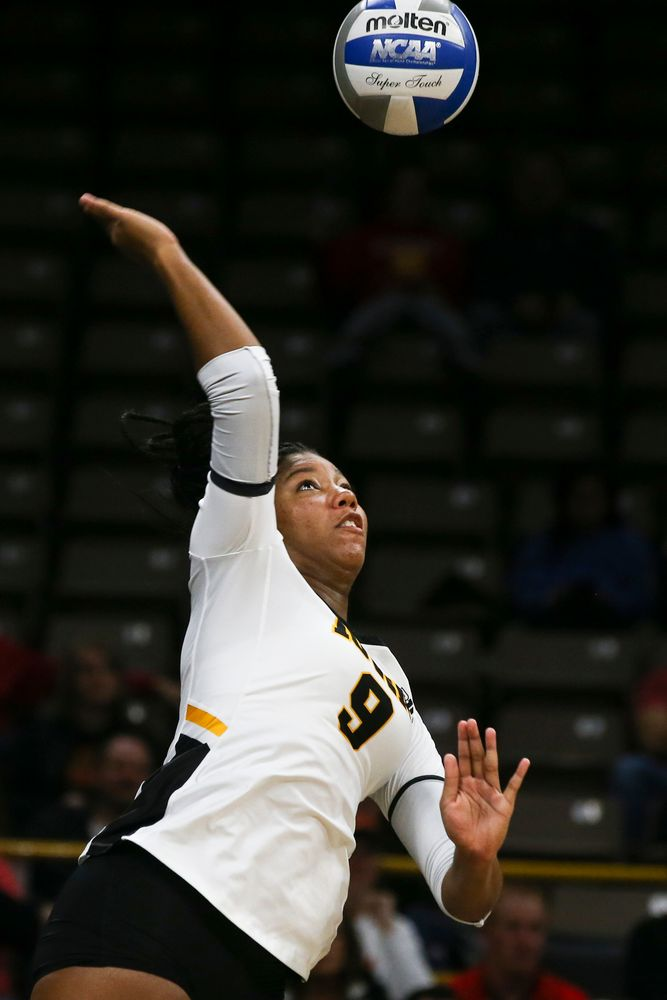 Iowa Hawkeyes middle blocker Amiya Jones (9) during Iowa volleyball vs Maryland on Saturday, November 30, 2019 at Carver-Hawkeye Arena. (Lily Smith/hawkeyesports.com)