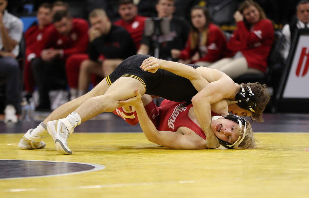 Iowa's Austin DeSanto wrestles Indiana's Paul Konrath at 133 pounds Friday, February 15, 2019 at Carver-Hawkeye Arena. (Brian Ray/hawkeyesports.com)