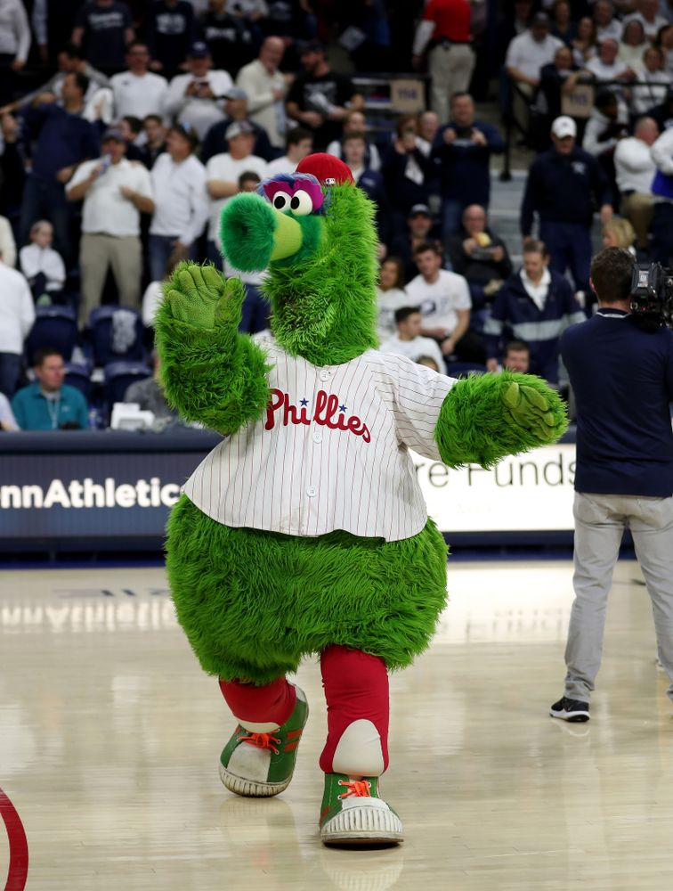 The Phillie Phanatic before the  Iowa Hawkeyes game against Penn State Saturday, January 4, 2020 at the Palestra in Philadelphia. (Brian Ray/hawkeyesports.com)