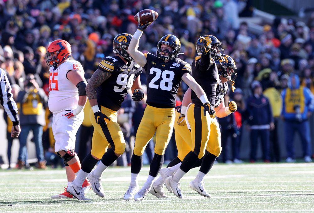 Iowa Hawkeyes defensive back Jack Koerner (28) against the Illinois Fighting Illini Saturday, November 23, 2019 at Kinnick Stadium. (Brian Ray/hawkeyesports.com)
