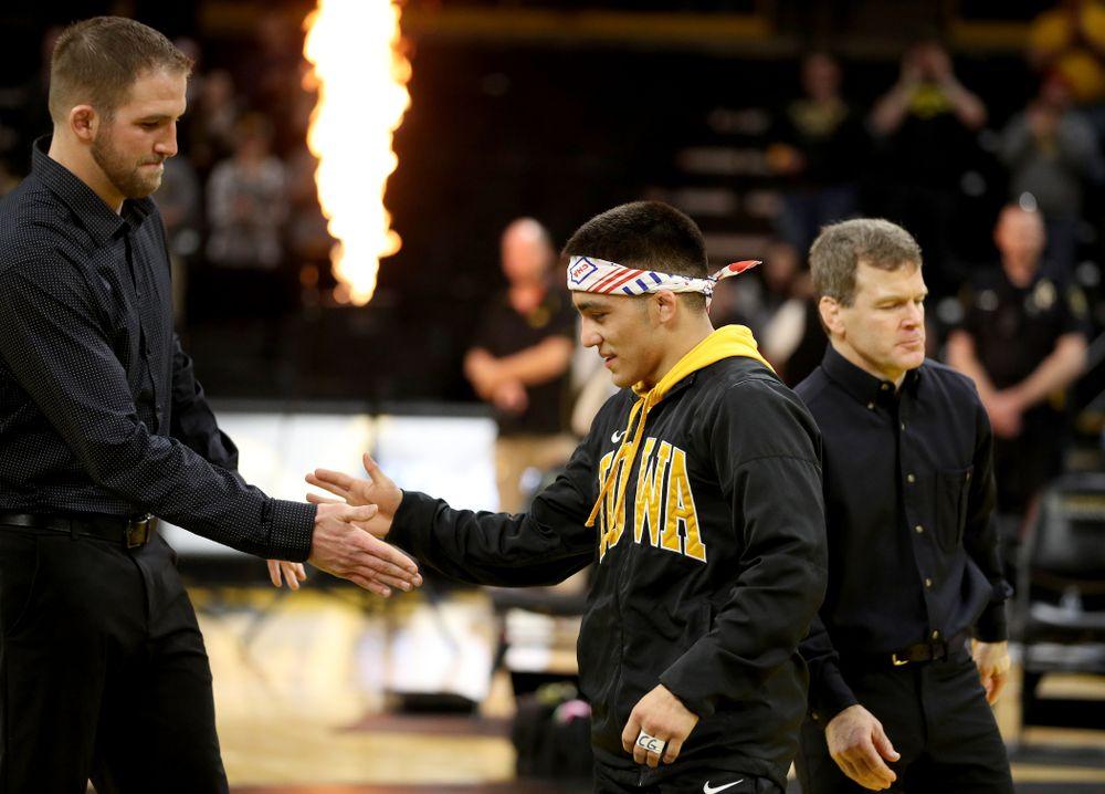 Iowa's Pat Lugo during senior day activities Sunday, February 23, 2020 at Carver-Hawkeye Arena. (Brian Ray/hawkeyesports.com)