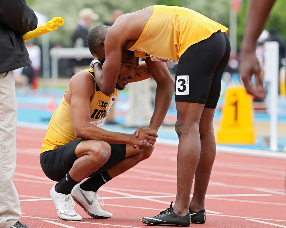 Iowa's Mar'yea Harris (from left) and Karayme Bartley after running the men's 400 meter event on the third day of the Big Ten Outdoor Track and Field Championships at Francis X. Cretzmeyer Track in Iowa City on Sunday, May. 12, 2019. (Stephen Mally/hawkeyesports.com)