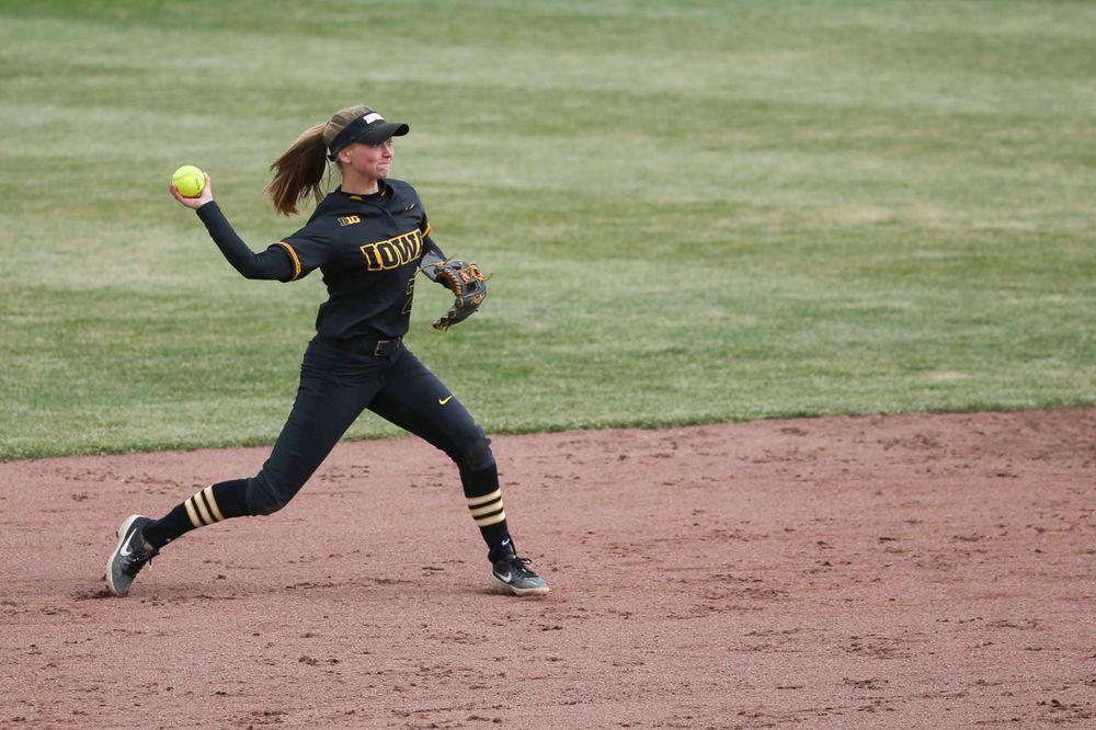 Iowa's Aralee Bogar (2) at game 2 vs Northwestern on Saturday, March 30, 2019 at Bob Pearl Field. (Lily Smith/hawkeyesports.com)