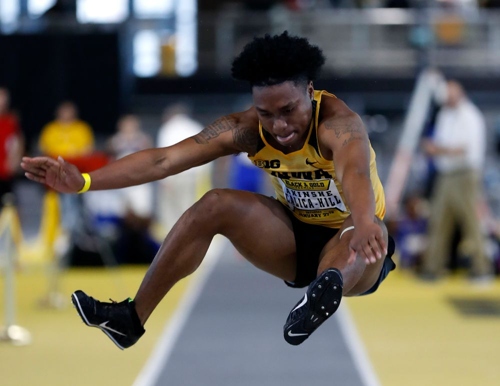 Akinshe Calico-Hill competes in the long jump