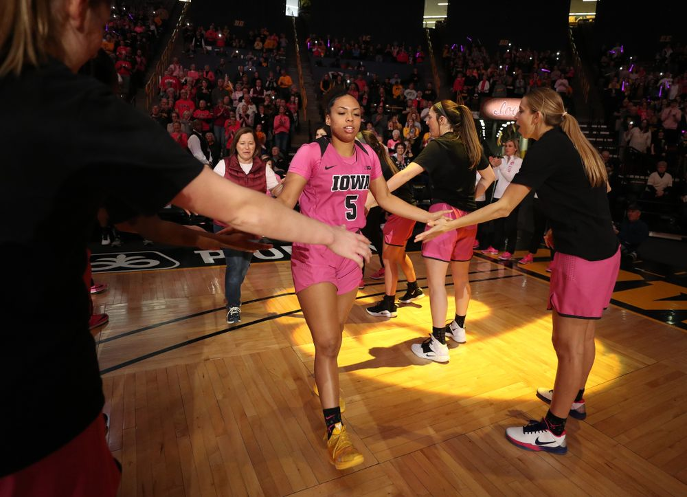 Iowa Hawkeyes guard Alexis Sevillian (5) is introduced before their game against the Wisconsin Badgers Sunday, February 16, 2020 at Carver-Hawkeye Arena. (Brian Ray/hawkeyesports.com)