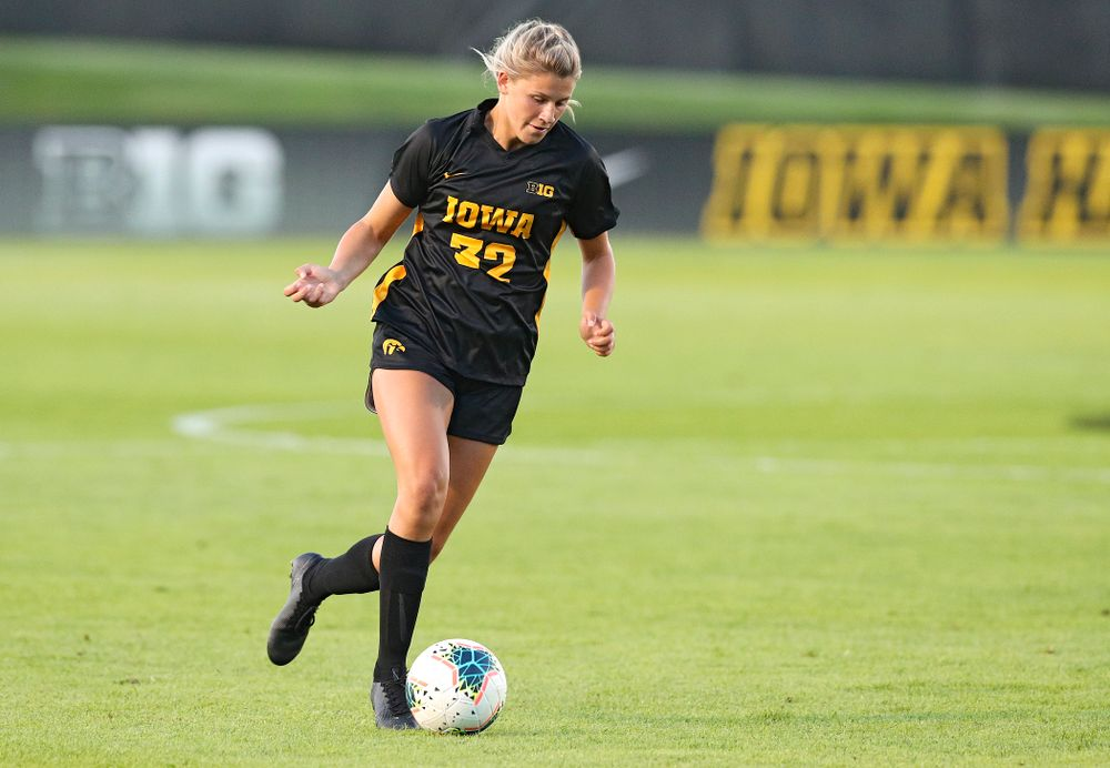 Iowa forward Gianna Gourley (32) moves with the ball during the first half of their match against Western Michigan at the Iowa Soccer Complex in Iowa City on Thursday, Aug 22, 2019. (Stephen Mally/hawkeyesports.com)