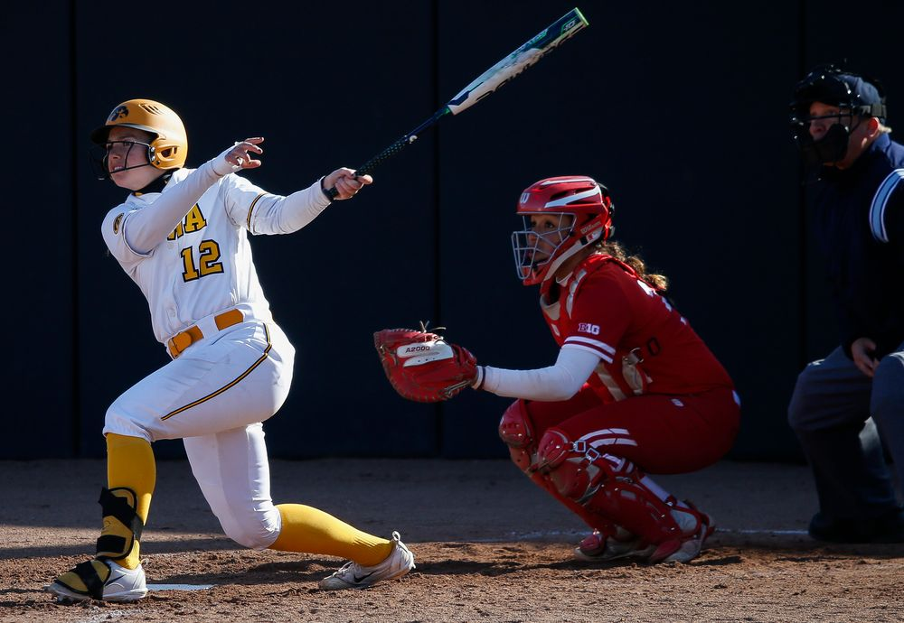 Iowa Hawkeyes catcher Angela Schmiederer (12)