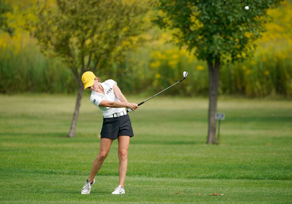 Iowa's Dana Lerner hits from the fairway during their dual against Northern Iowa at Pheasant Ridge Golf Course in Cedar Falls on Monday, Sep 2, 2019. (Stephen Mally/hawkeyesports.com)
