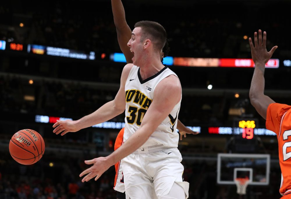 Iowa Hawkeyes guard Connor McCaffery (30) against the Illinois Fighting Illini in the 2019 Big Ten Men's Basketball Tournament Thursday, March 14, 2019 at the United Center in Chicago. (Brian Ray/hawkeyesports.com)