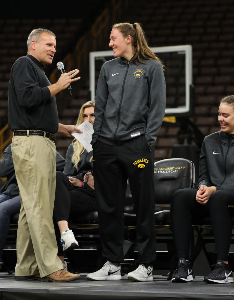 Iowa WomenÕs Basketball radio announcer Rob Books and forward Amanda Ollinger (43)] during the teamÕs Celebr-Eight event Wednesday, April 24, 2019 at Carver-Hawkeye Arena. (Brian Ray/hawkeyesports.com)
