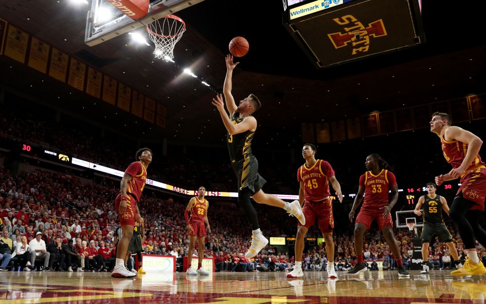Iowa Hawkeyes guard Jordan Bohannon (3) goes to the hoop against the Iowa State Cyclones Thursday, December 12, 2019 at Hilton Coliseum in Ames, Iowa(Brian Ray/hawkeyesports.com)
