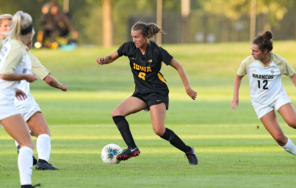 Iowa midfielder Isabella Blackman (6) moves with the ball during the first half of their match against Western Michigan at the Iowa Soccer Complex in Iowa City on Thursday, Aug 22, 2019. (Stephen Mally/hawkeyesports.com)