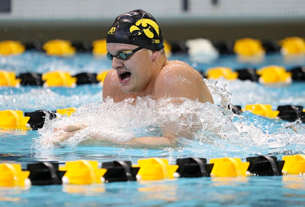 Iowa's Will Myhre swims the men's 200-yard breaststroke event during their meet against Michigan State and Northern Iowa at the Campus Recreation and Wellness Center in Iowa City on Friday, Oct 4, 2019. (Stephen Mally/hawkeyesports.com)