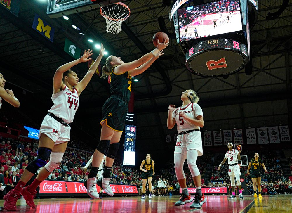 Iowa forward/center Monika Czinano (25) makes a basket during the first quarter of their game at the Rutgers Athletic Center in Piscataway, N.J. on Sunday, March 1, 2020. (Stephen Mally/hawkeyesports.com)