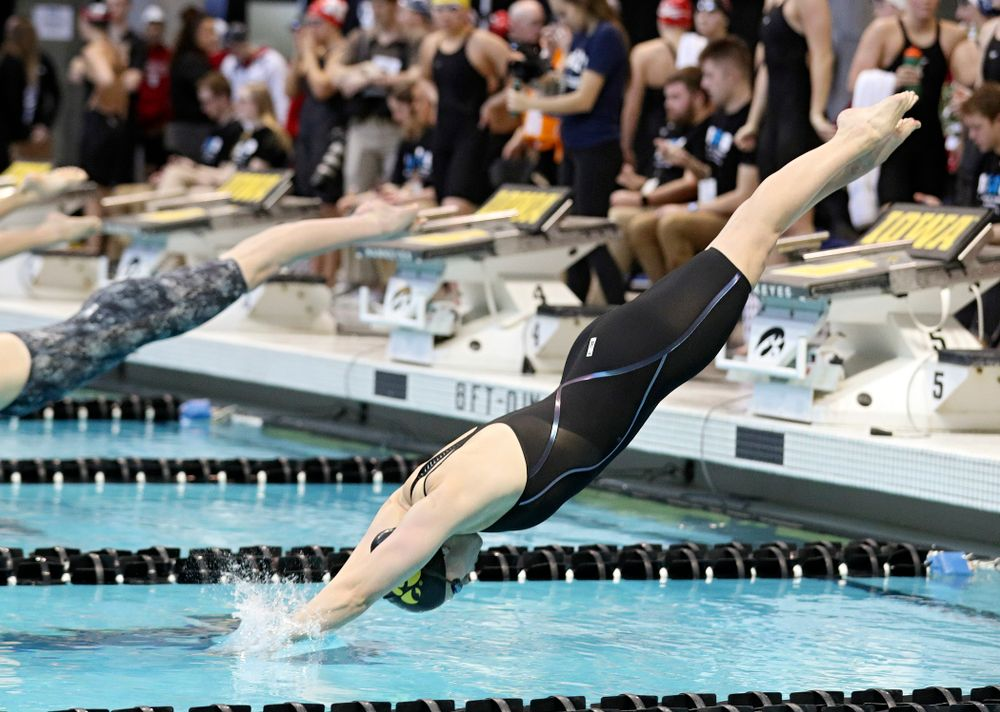 Iowa's Lauren McDougall swims in the women's 100 yard freestyle preliminary event during the 2020 Women's Big Ten Swimming and Diving Championships at the Campus Recreation and Wellness Center in Iowa City on Saturday, February 22, 2020. (Stephen Mally/hawkeyesports.com)