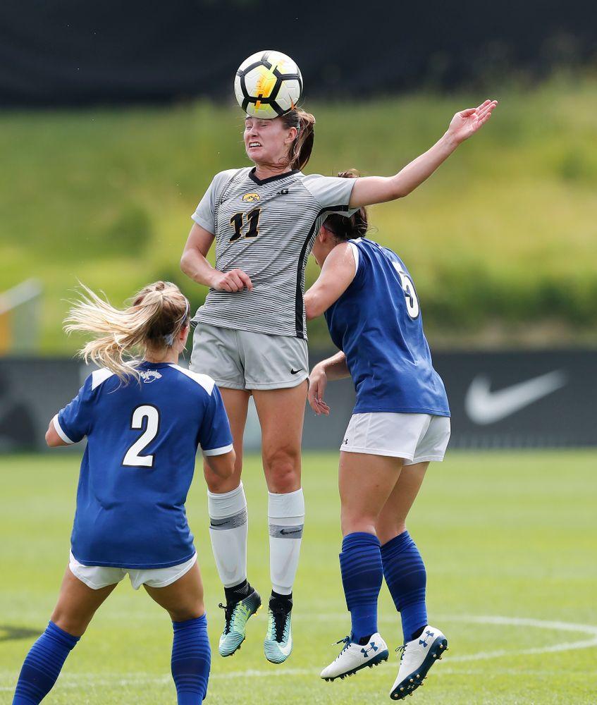 Iowa Hawkeyes Sydney Blitchok (11) against Indiana State Sunday, August 26, 2018 at the Iowa Soccer Complex. (Brian Ray/hawkeyesports.com)