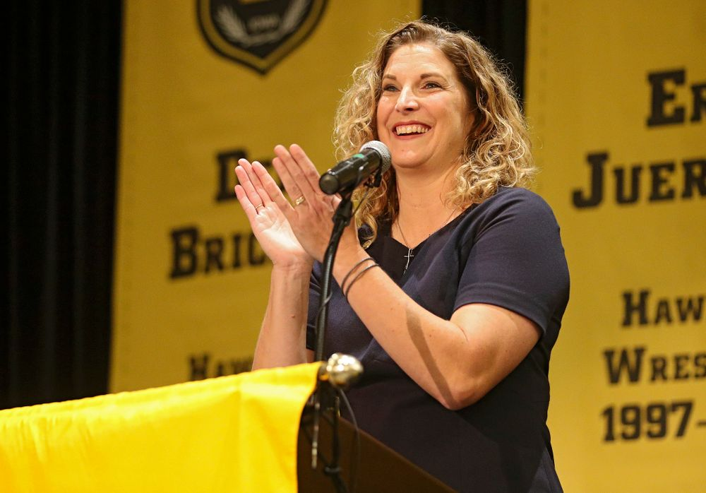 Barb Randall, co-chair of the Varsity Club Advisory Committee, speaks during the Hall of Fame Induction Ceremony at the Coralville Marriott Hotel and Conference Center in Coralville on Friday, Aug 30, 2019. (Stephen Mally/hawkeyesports.com)