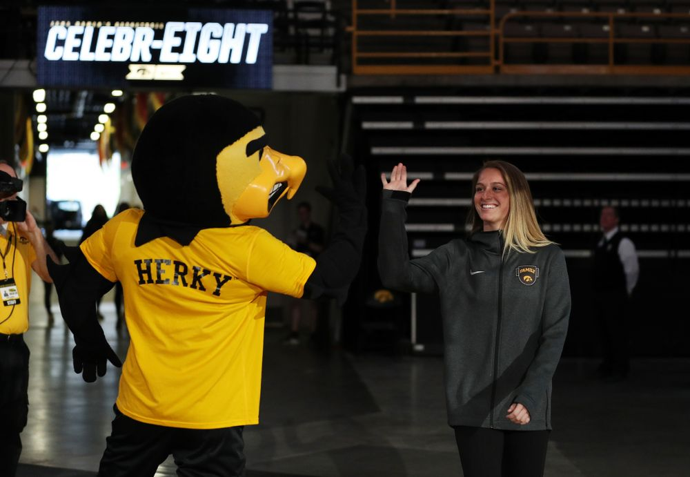 Iowa Hawkeyes guard Makenzie Meyer (3) during the teamÕs Celebr-Eight event Wednesday, April 24, 2019 at Carver-Hawkeye Arena. (Brian Ray/hawkeyesports.com)