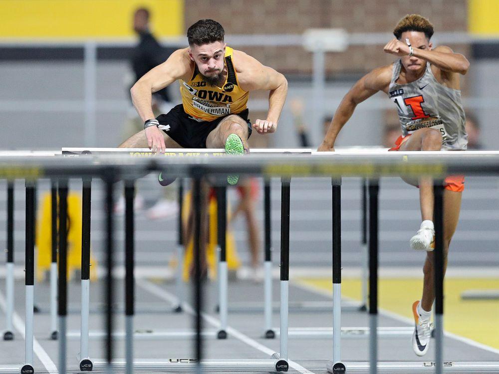 Iowa's Josh Braverman runs the men's 60 meter hurdles premier preliminary event during the Larry Wieczorek Invitational at the Recreation Building in Iowa City on Saturday, January 18, 2020. (Stephen Mally/hawkeyesports.com)