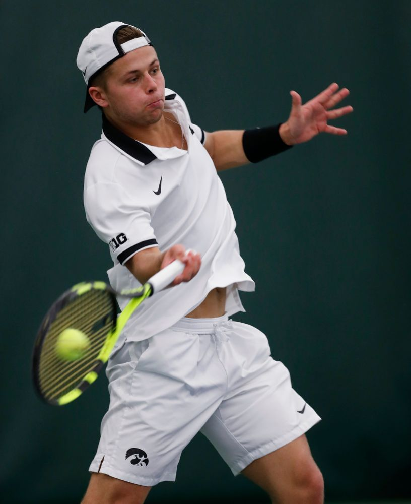 Will Davies against Purdue Sunday, April 15, 2018 at the Hawkeye Tennis and Recreation Center. (Brian Ray/hawkeyesports.com)