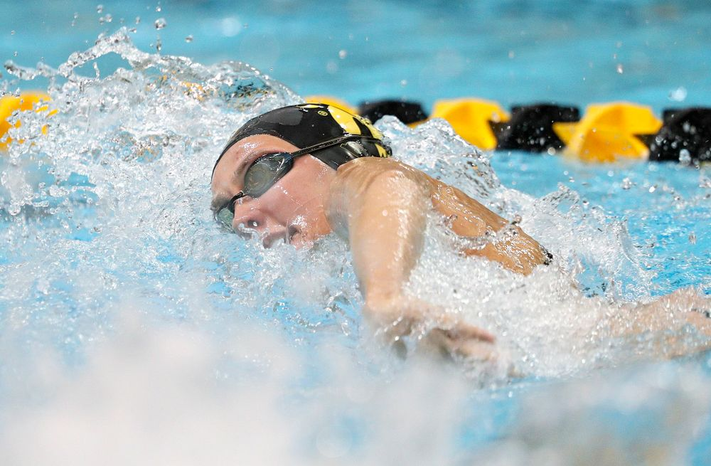 Iowa's Macy Rink swims her section of the women's 200-yard freestyle relay event during their meet against Michigan State at the Campus Recreation and Wellness Center in Iowa City on Thursday, Oct 3, 2019. (Stephen Mally/hawkeyesports.com)