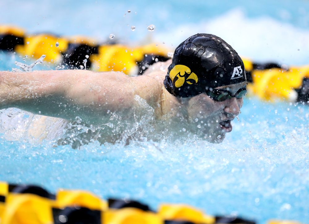 Iowa's Michael Brzus competes in the 100-yard butterfly on the third day at the 2019 Big Ten Swimming and Diving Championships Thursday, February 28, 2019 at the Campus Wellness and Recreation Center. (Brian Ray/hawkeyesports.com)