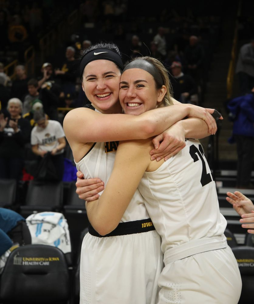 Iowa Hawkeyes forward Megan Gustafson (10) and forward Hannah Stewart (21) against the Northern Iowa Panthers in the Hy-Vee Classic Sunday, December 16, 2018 at Carver-Hawkeye Arena. (Brian Ray/hawkeyesports.com)