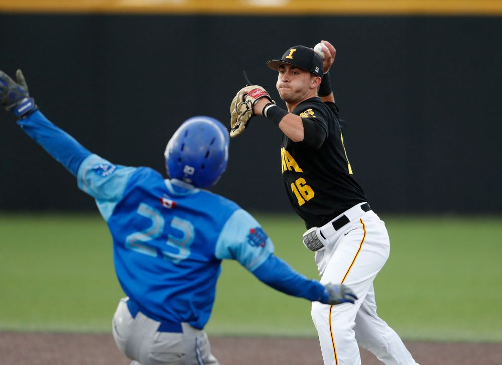 Tanner Wetrich against  the Ontario Blue Jays Friday, September 21, 2018 at Duane Banks Field. (Brian Ray/hawkeyesports.com)