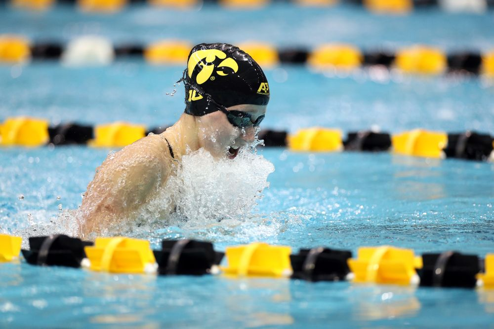 IowaÕs Aleksandra Olesiak swims the 100 yard breaststroke against the Michigan Wolverines Friday, November 1, 2019 at the Campus Recreation and Wellness Center. (Brian Ray/hawkeyesports.com)