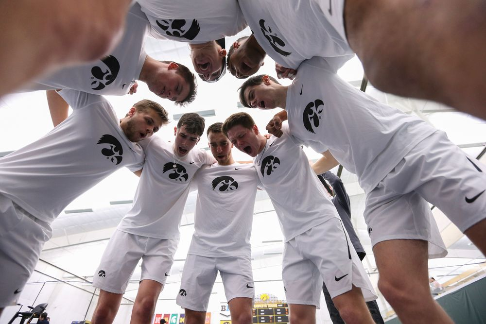 The Iowa men's tennis team gears up for the tennis meet vs Nebraska on Sunday, March 1, 2020 at the Hawkeye Tennis and Recreation Complex. (Lily Smith/hawkeyesports.com)