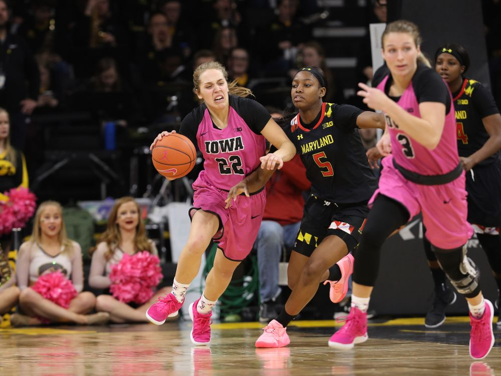 Iowa Hawkeyes guard Kathleen Doyle (22) against the seventh ranked Maryland Terrapins Sunday, February 17, 2019 at Carver-Hawkeye Arena. (Brian Ray/hawkeyesports.com)