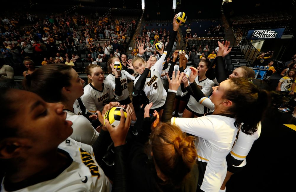 Iowa Hawkeyes right side hitter Reghan Coyle (8) is introduced before their game against Eastern Illinois Sunday, September 9, 2018 at Carver-Hawkeye Arena. (Brian Ray/hawkeyesports.com)