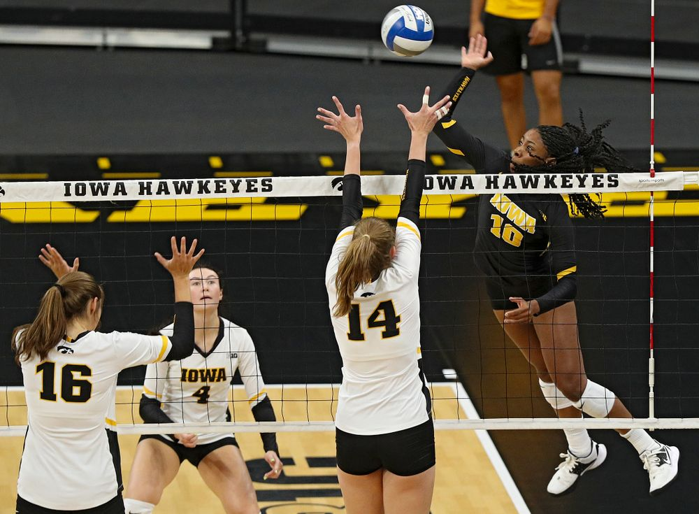 Iowa's Griere Hughes (10) during the first set of the Black and Gold scrimmage at Carver-Hawkeye Arena in Iowa City on Saturday, Aug 24, 2019. (Stephen Mally/hawkeyesports.com)