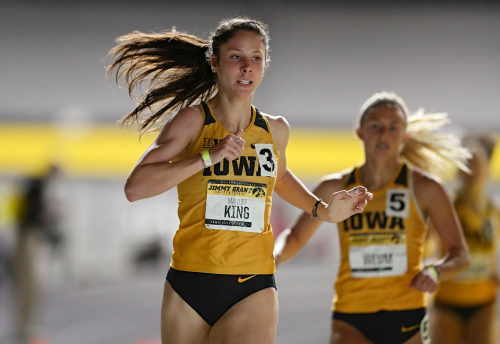 Iowa's Mallory King runs the women's 600 meter run event during the Jimmy Grant Invitational at the Recreation Building in Iowa City on Saturday, December 14, 2019. (Stephen Mally/hawkeyesports.com)