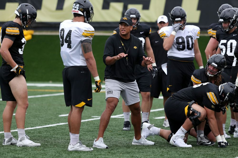 LeVar Woods during practice No. 4 of Fall Camp Monday, August 6, 2018 at the Hansen Football Performance Center. (Brian Ray/hawkeyesports.com)