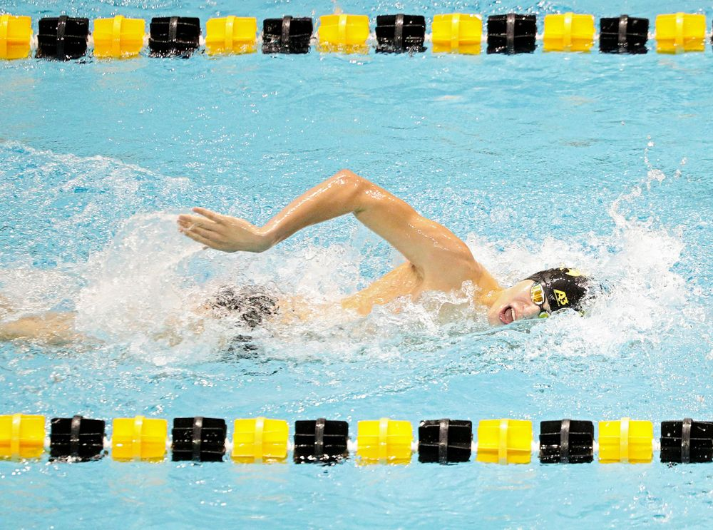 Iowa's Andrew Fierke swims the men's 1000-yard freestyle event during their meet against Michigan State and Northern Iowa at the Campus Recreation and Wellness Center in Iowa City on Friday, Oct 4, 2019. (Stephen Mally/hawkeyesports.com)